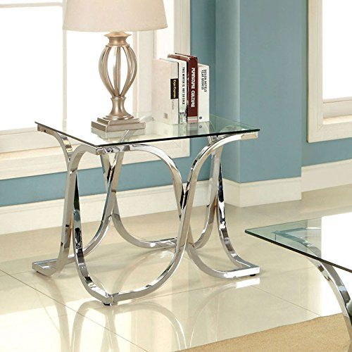 Luxa Contemporary Chrome Finish End Table Click Image To