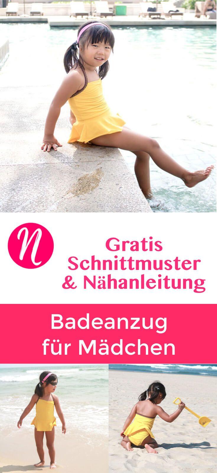 Badeanzug für Mädchen - Freebook | Gratis schnittmuster, Kleine ...