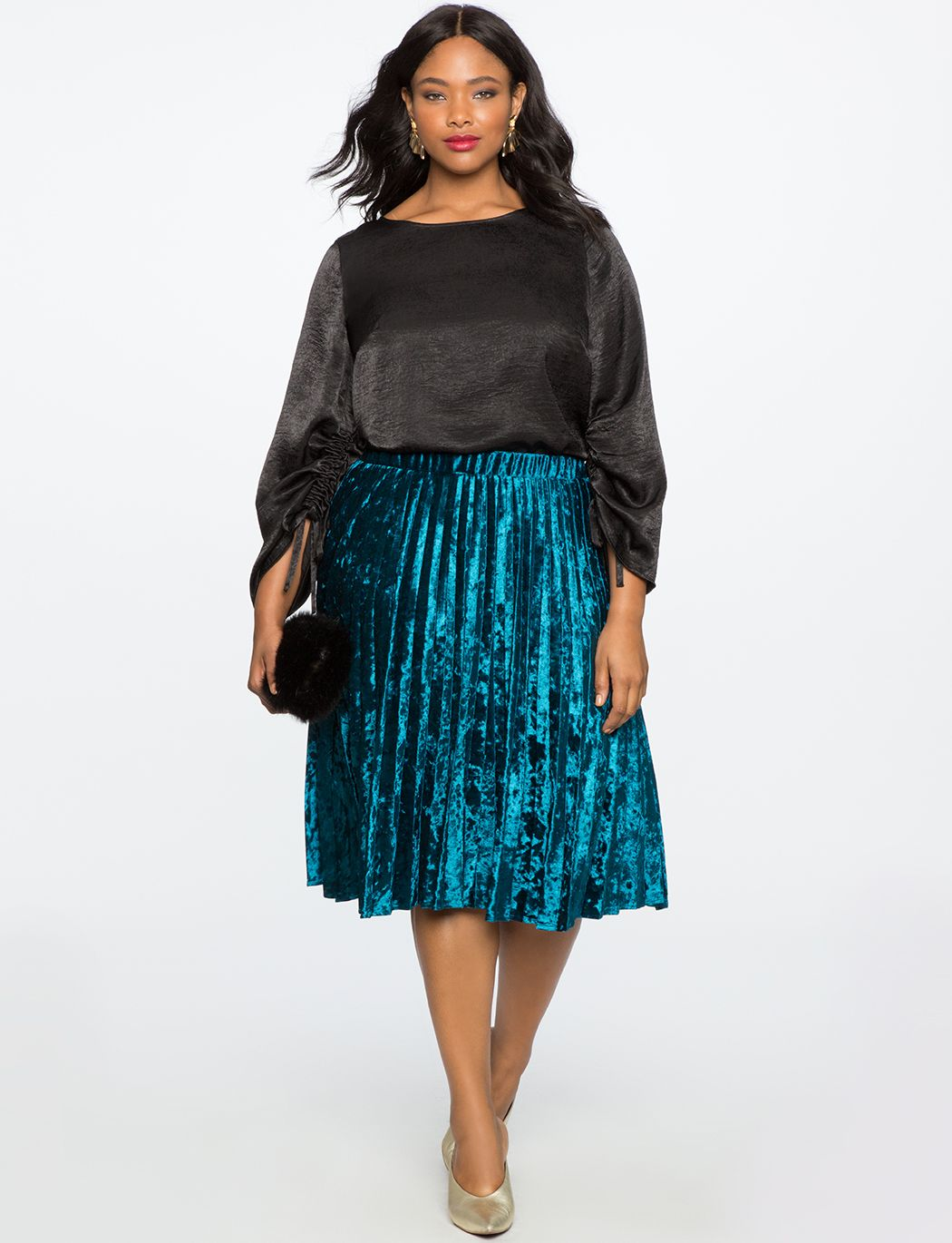 04273c4b3 Eloquii Pleated Crushed Velvet Midi Skirt Teal