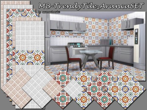 The Sims Resource: Trendy Tile Aranca SET By Matomibotaki U2022 Sims 4 Downloads