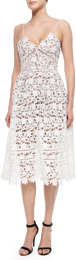 Self Portrait Azalea Lace Dress, White | Vestidos