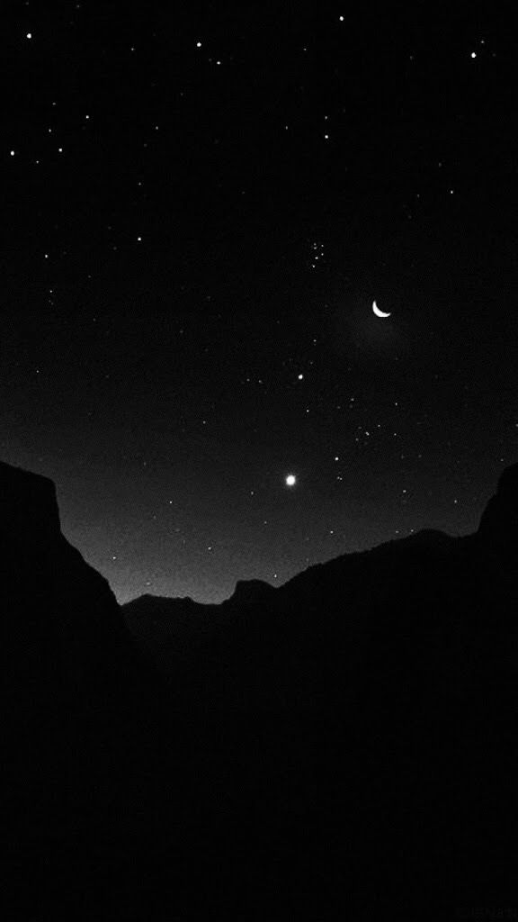 Iphone Mountain Night Stars Sky Black Wallpaper Ilustrasi