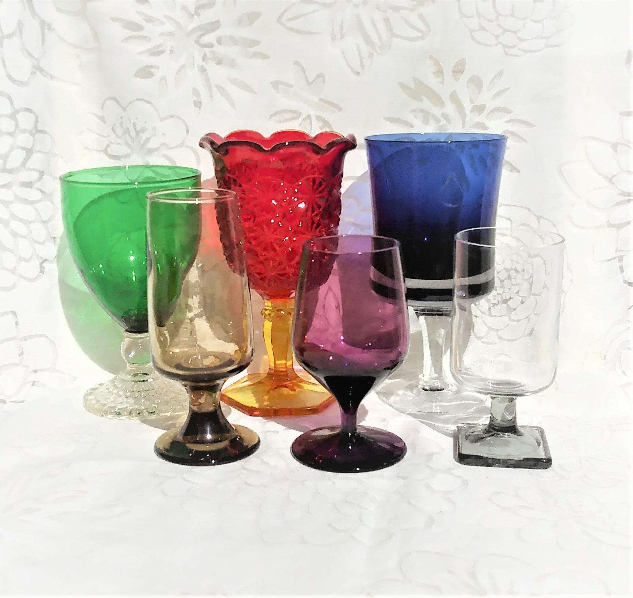 Set Of 6 Assorted Colored Glass Goblets Mismatched Vintage In 2020 Vintage Wine Glass Vintage Wine Glasses Vintage Wine