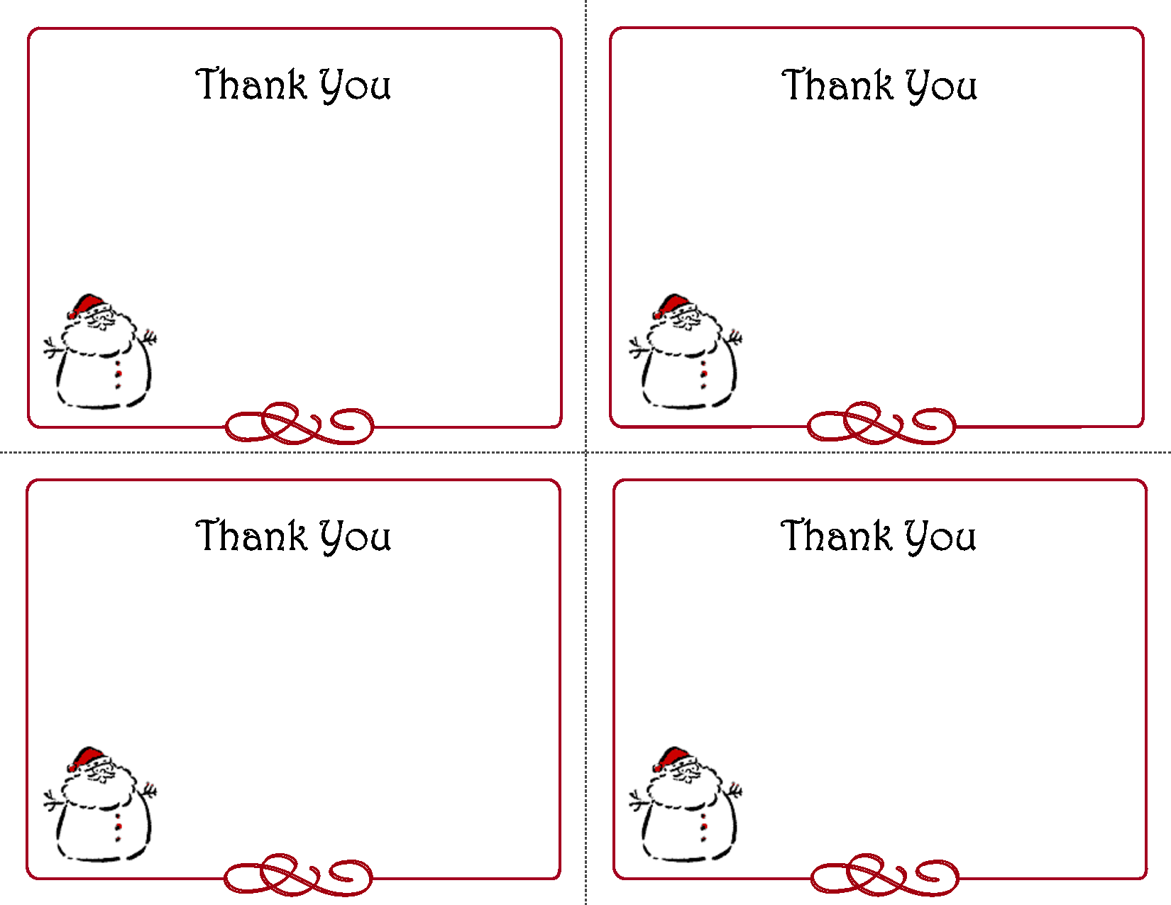 Printable Christmas Thank You Card Templates  Thank You Cards