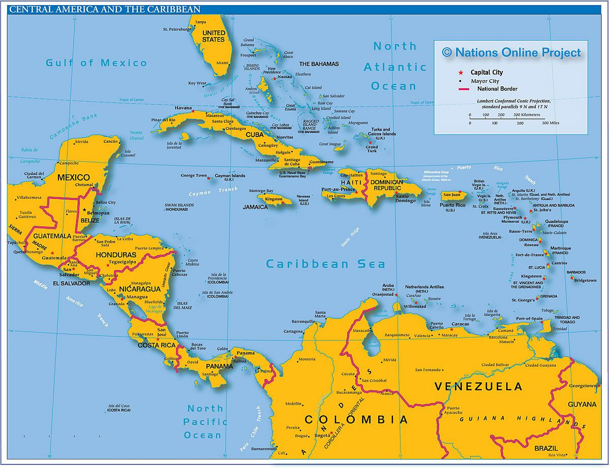 Politcal Map of Central America and the Caribbean  Places