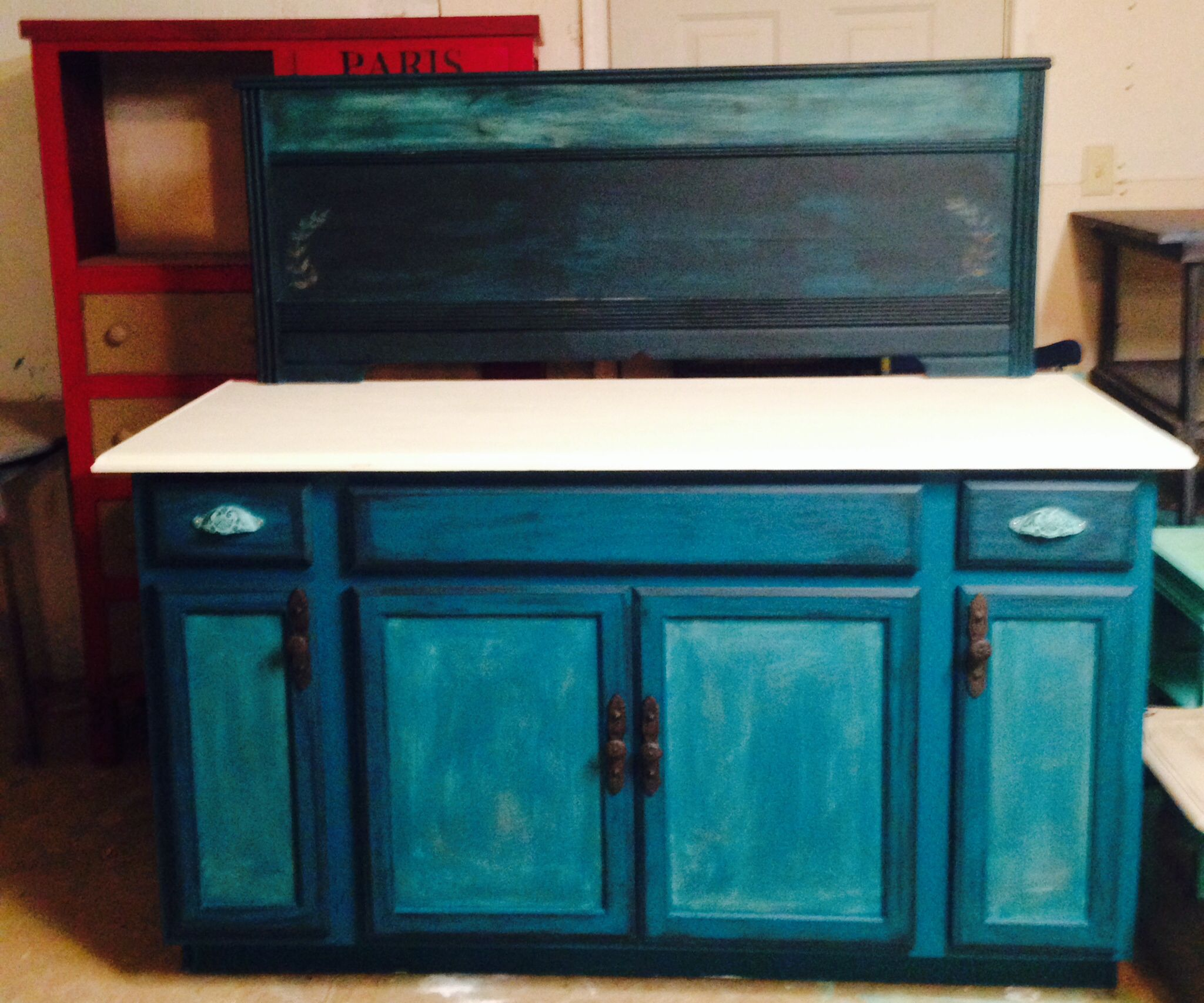 Buffet created using a kitchen cabinet and antique footboard | Touch ...