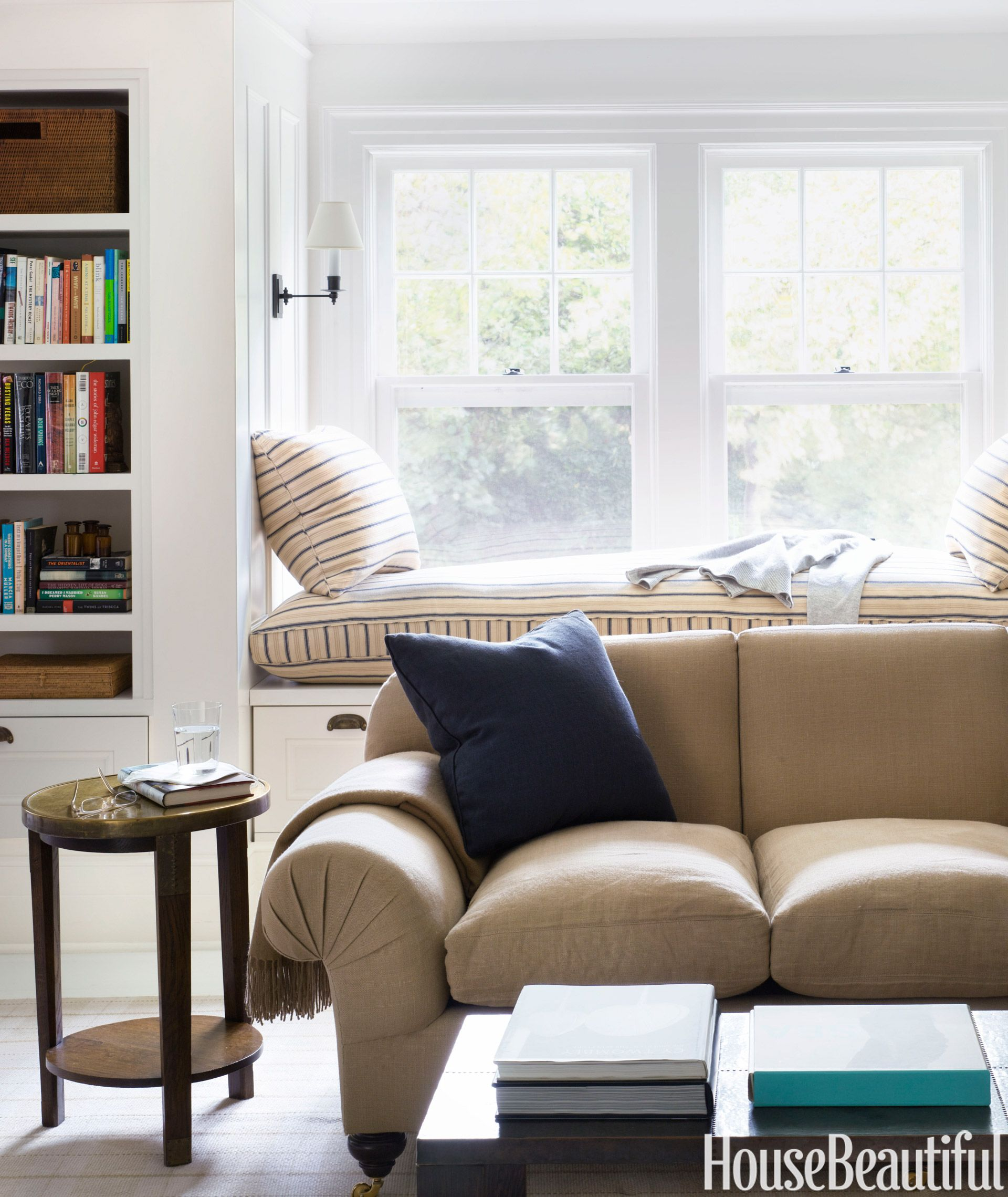A Simple Shaker-Style Cottage | Sitting area, Window and Linens