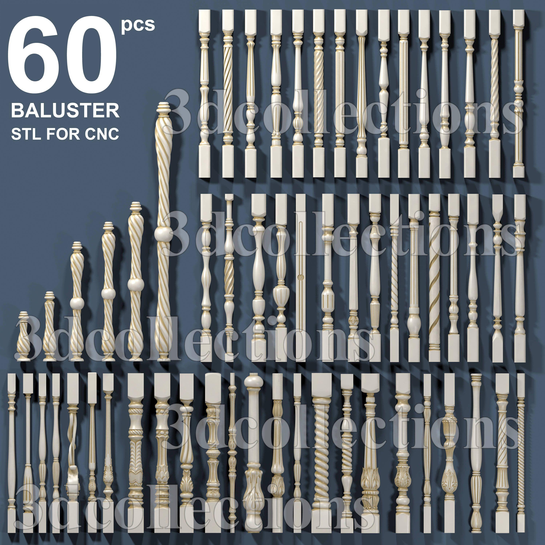 3D Stl Modelle 60 Stück Packung Baluster für CNCRouter