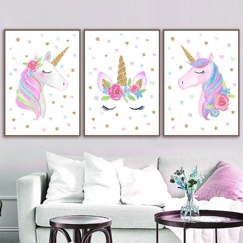 Nursery Posters Prints Unicorn Wall Art Poster Cartoon ...