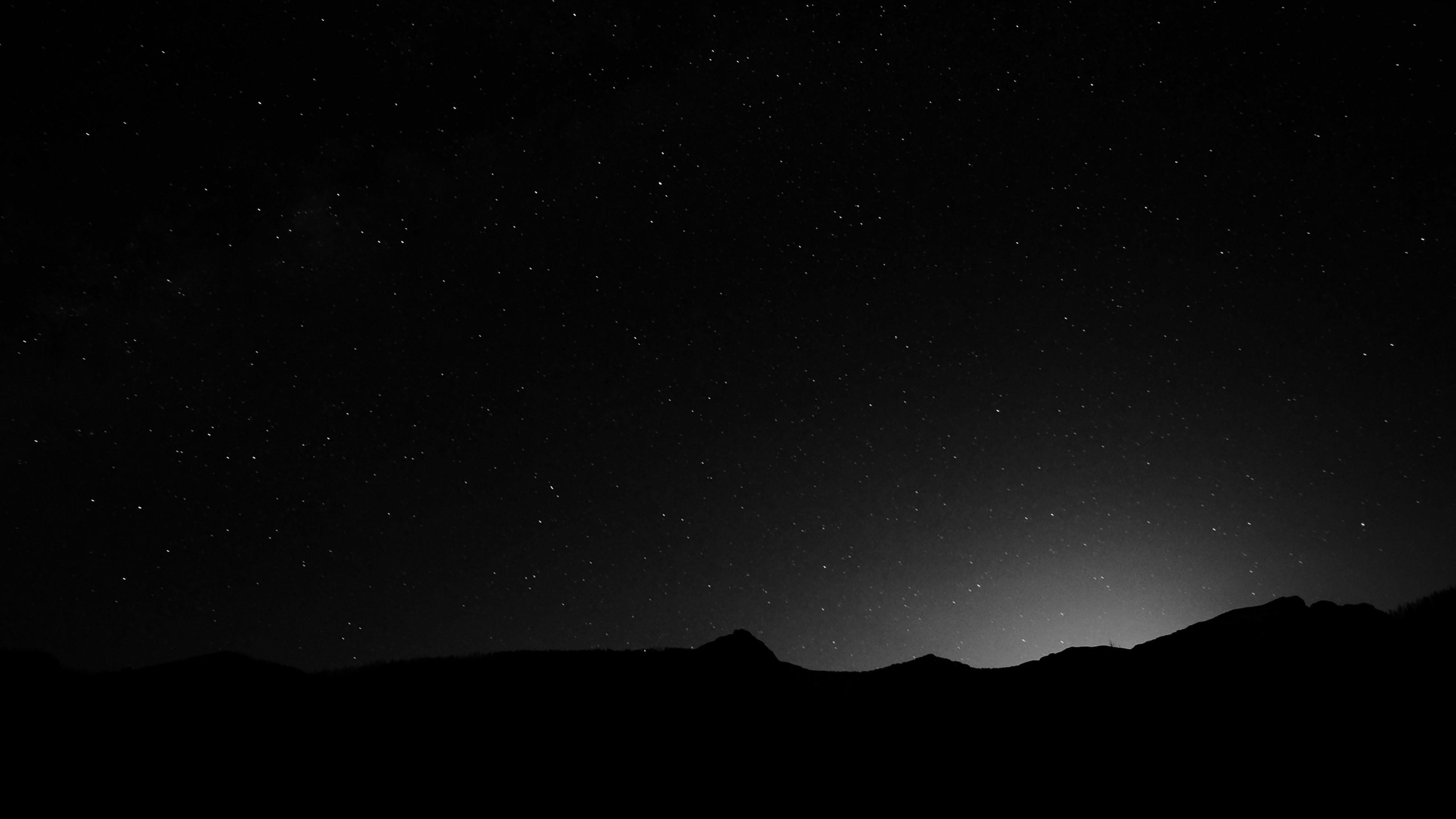 Black Night Starry Night Monochrome Starry Stars Night Sky Sky Skies Black Amp White 4 In 2020 Night Sky Wallpaper Desktop Wallpaper Black Mountain Wallpaper