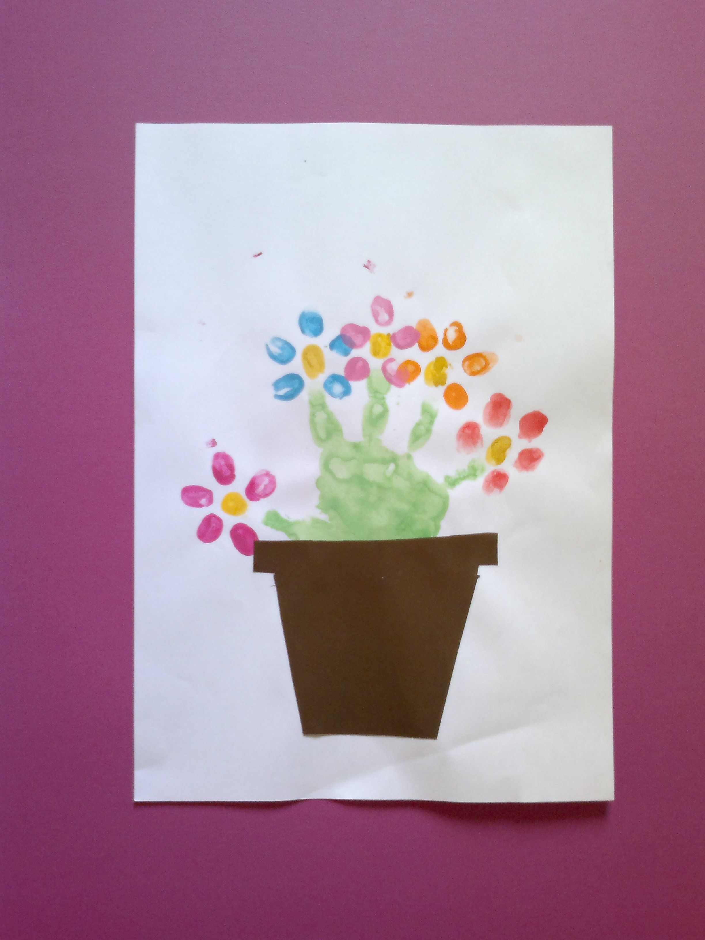 Finger Paint Flower Pot Younger Kids Babies Could Make During Party While Bracelets Are Being Made Then Pool Time After Getting Messy