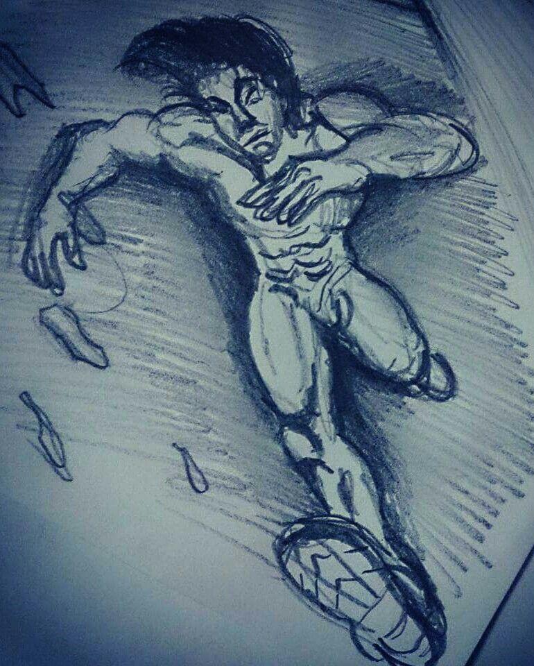 Koşan Adam Sporcu Karakalem çizim 1 Aeski Resim çizimleri