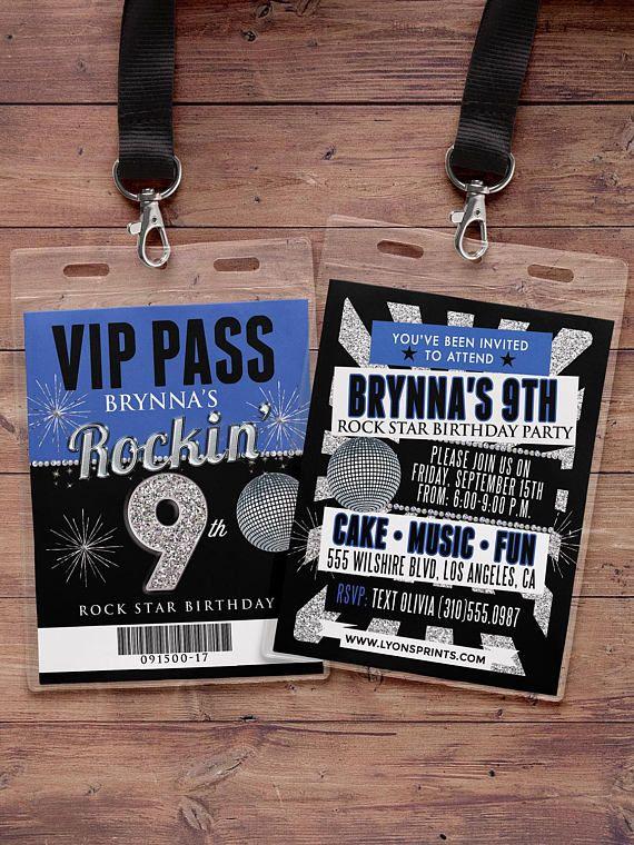 Jeden Alters Geburtstagseinladung Rock Star VIP PASS
