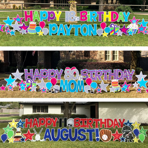 Card My Yard Yard Signs For Any Occassion In Athens Ga Happy Birthday Yard Signs Happy Birthday Signs Birthday Yard Signs Diy
