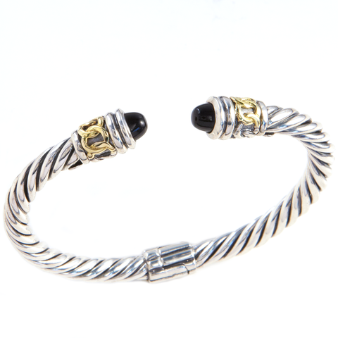 Black Diamond Bangle Set in Sterling Silver & 18K Gold Accents | Cirque Jewels