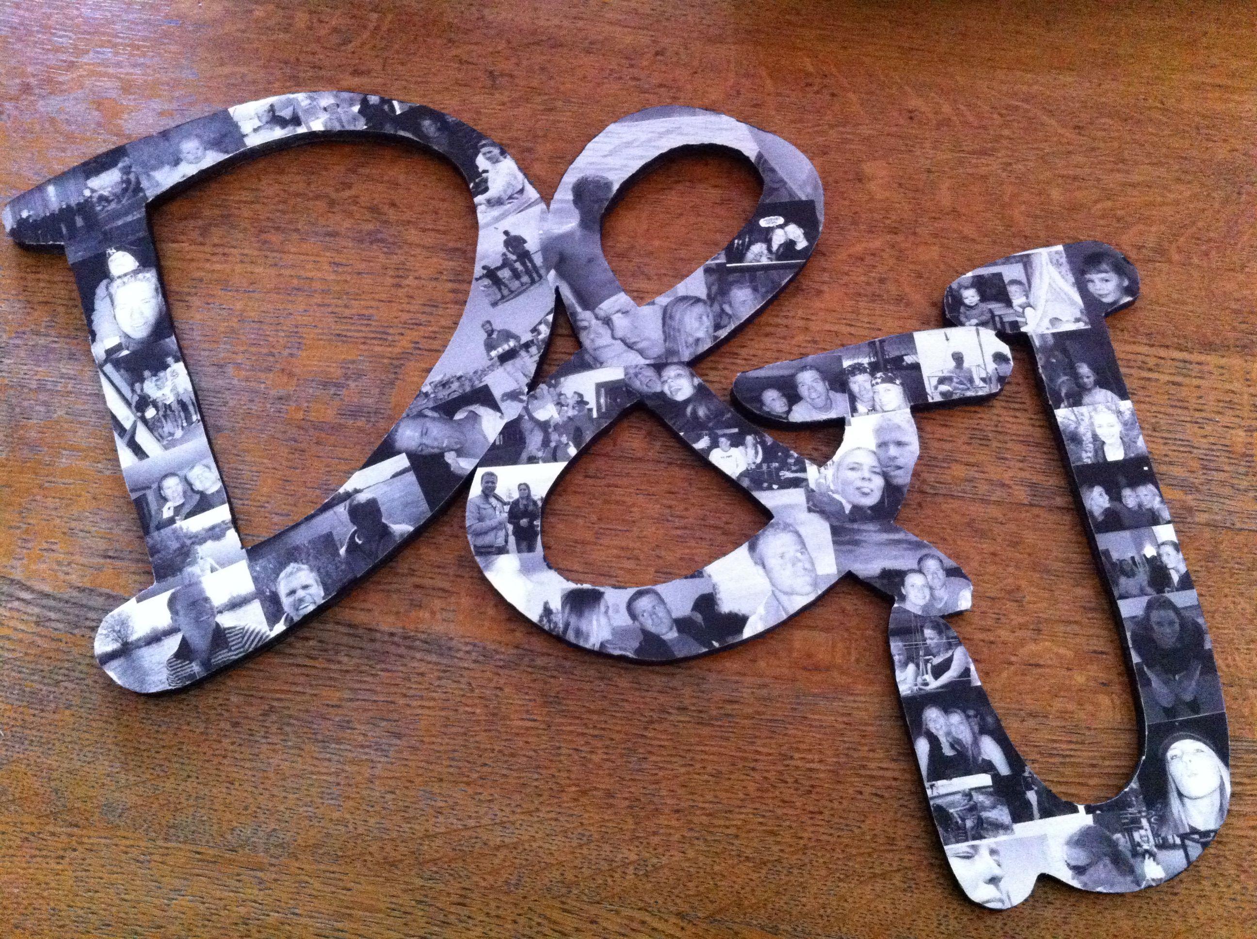 Houten letters met foto's. Een origineel cadeau gemaakt voor een bruidspaar.