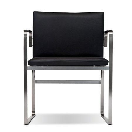 CH111 stol, Hans J. Wegner, stol i rustfrit stål med læder