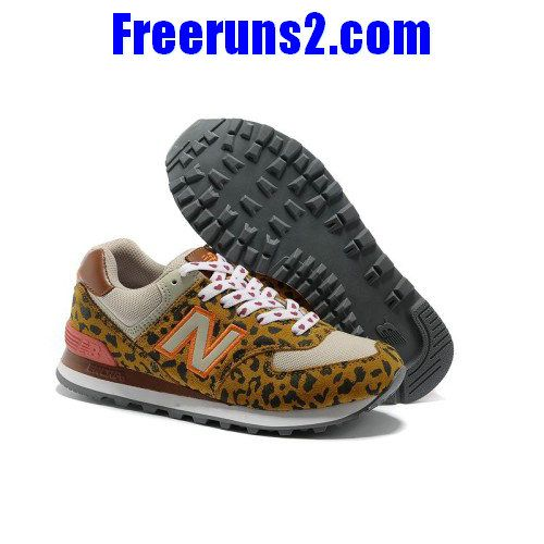 Buy Authentic New Balance 574 Leopard Print edition Orange Brown Gray women shoes  Shoes-Cheap Real Womens New Balance 574 2013 For Sale