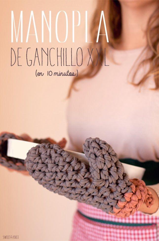 Manopla de Ganchillo XXL con Trapillo. Patrón Gratis en Español ...