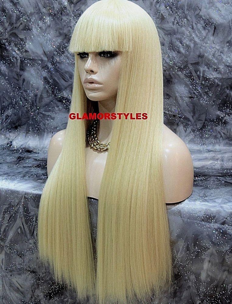 Human Hair Blend Long Straight W Bangs Bleach Blonde Full Wig Hair Piece 613 Wigs Hair Piece Long Blonde Hair