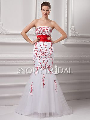white red mermaid long embroidered strapless corset