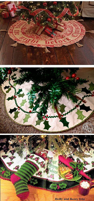 Holly Berry Tree Skirt Christmas Tree Skirt Crochet Christmas Trees Christmas Crochet