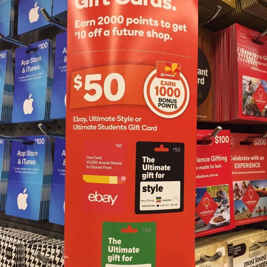 Buy 50 ebay gift cards get 1000 rewards points worth 5