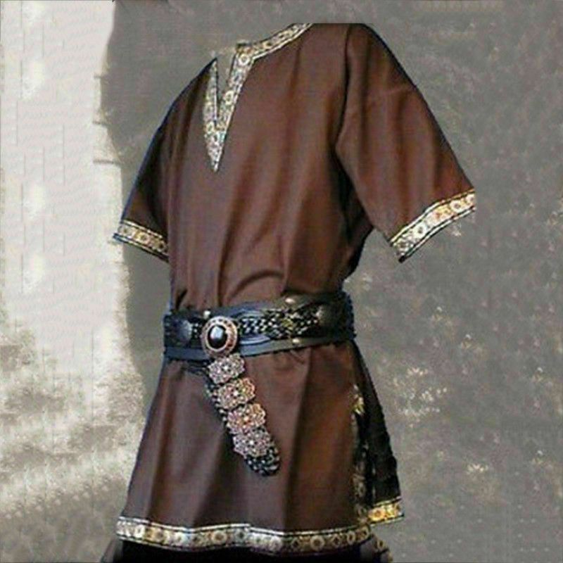 Medieval Renaissance Men Tunic Viking Saxon short sleeve shirt Halloween Cosplay