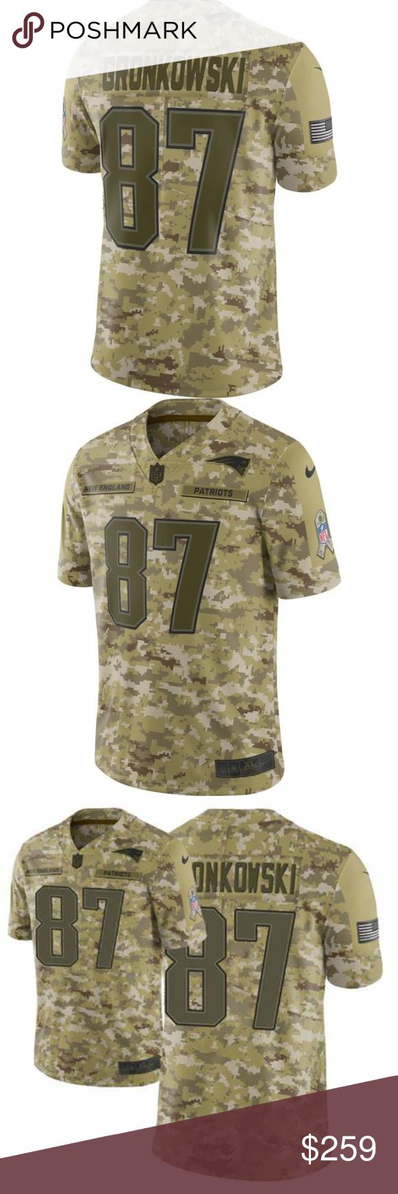 New England Patriots Gronkowski Camo Jersey Gronk Awesome Rare 2018 Nike Salute To Service Rob Gronkowski Jersey 100 Authentic Nike Nike Shirts Tees Shor