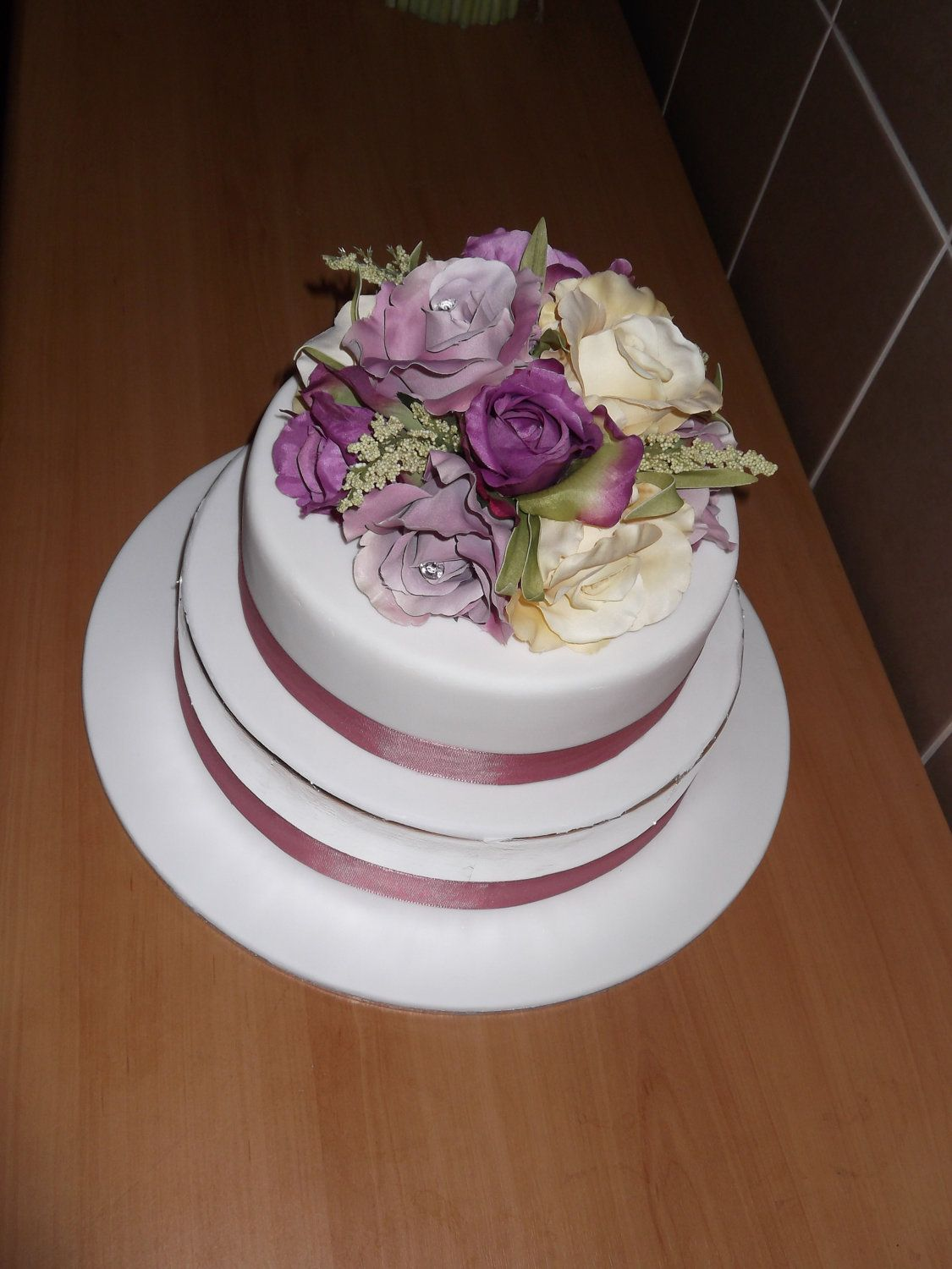 Purple Lavender And Ivory Silk Flower Wedding Cake Topper Real