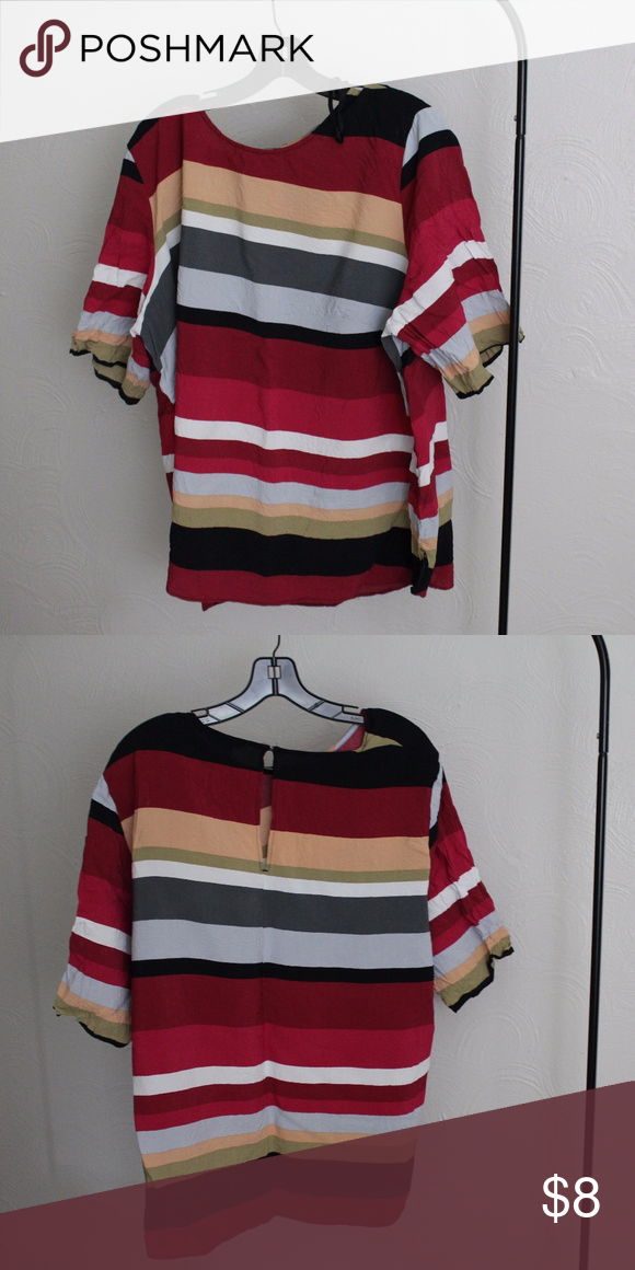 Fall Colored Striped Blouse Beautiful top, never been machine dried, always lay flat. It's a pretty crepe material, good used condition. H&M Tops Blouses