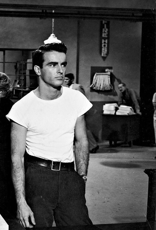 Montgomery Clift in A Place in the Sun (1951). That light fixture in the background kinda makes it look like he has a plunger on his head.