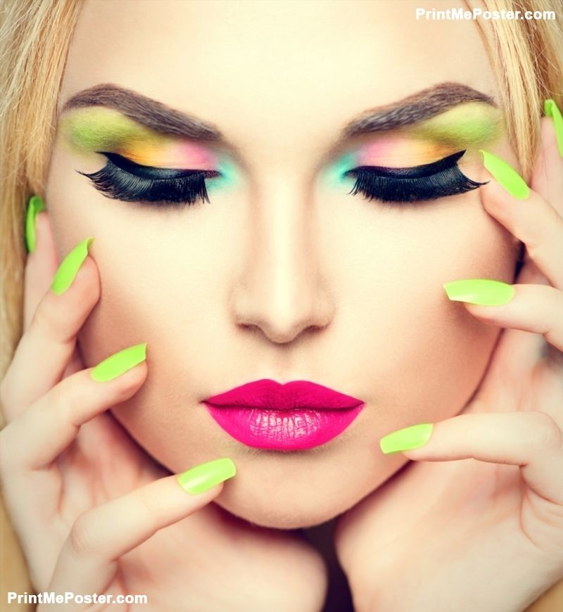 Nails Art Salon For Girls: Beauty Woman Face Portrait With Vivid Makeup And Colorful