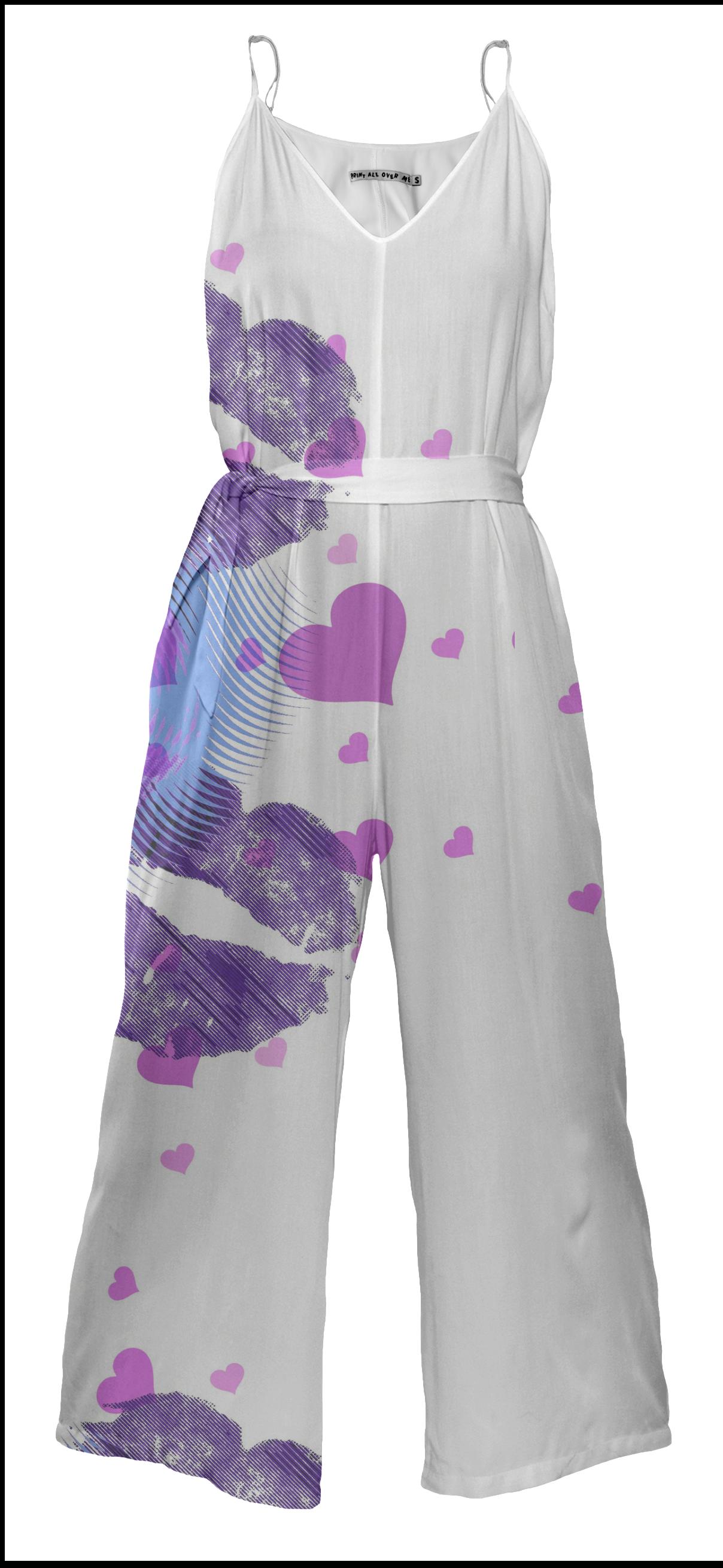 Indigo Kiss Tie Waist Jump Suit by Eric Rasmussen