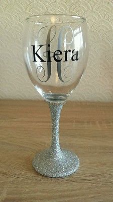 167b4a19d89 Personalised Glitter wine glass great for birthdays, Anniversaries,  bridesmaids