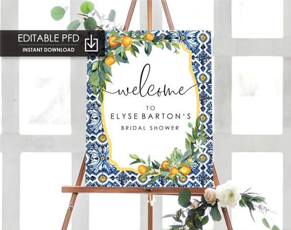 Oranges Bridal Shower Welcome Sign - Positano Blue Tile