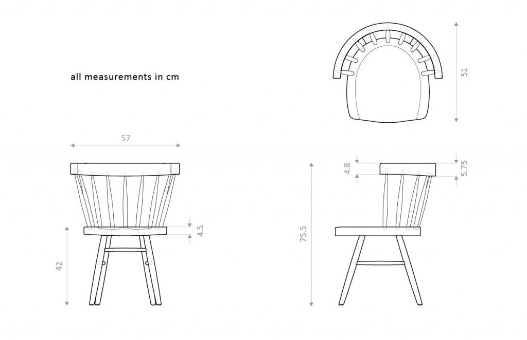 orthographic drawings of nakashima straight backed chair