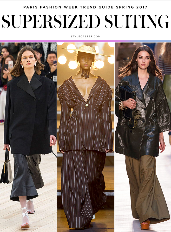Céline; Jacquemus; Sonia Rykiel Supersized Suiting We're slowly coming around to the idea of bigger sleeves, wider flares, and less conventional outerwear silhouettes (see: the increasingly popular, if somewhat impractical, off-the-shoulder jacket trend). Now, it's office wear's time to get a modern makeover—and if anyone can lead the charge, it's Céline and Jacquemus, who have each pioneered some of the most-copied looks of the past several seasons.