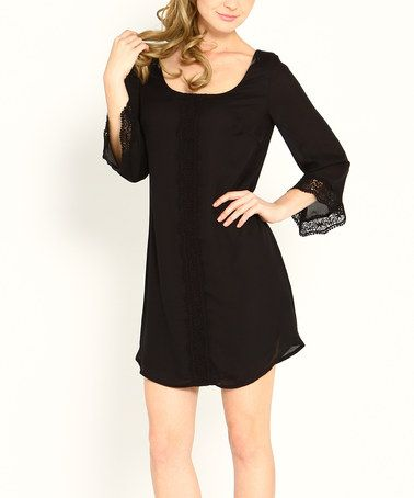 Look what I found on #zulily! Black Lace-Trim Scoop Neck Dress - Women by Marineblu #zulilyfinds