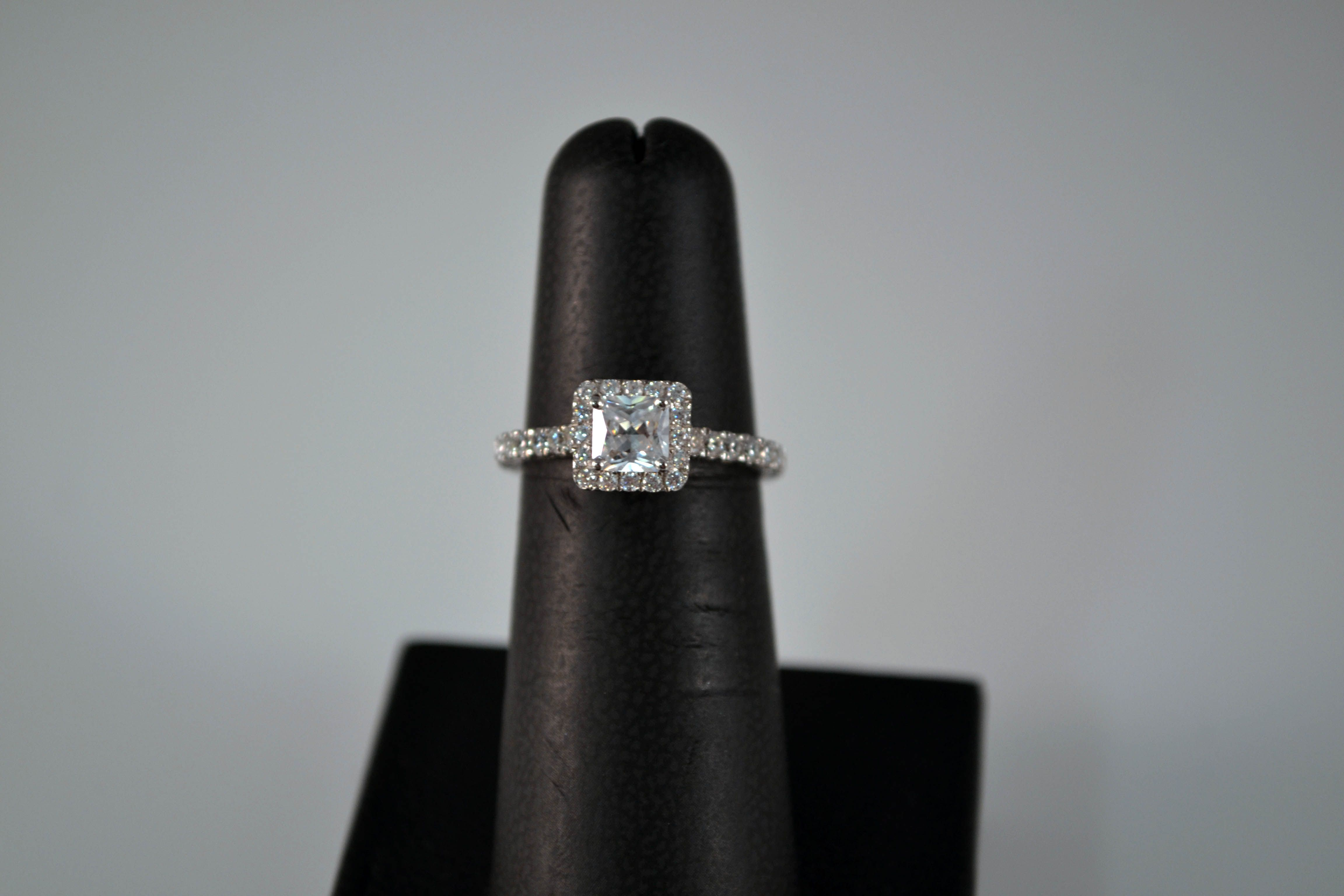 Beautiful Princess cut halo engagement ring with antique filagree design etched on the band! $125 on www.lexinicolejewelry.com ~ #princess #halo #engagement #bridal #bridetobe #antique #filagree #lexinicole #jewelryaddict #wedding
