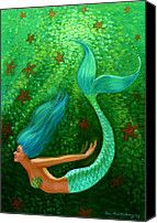 Diving Mermaid Fantasy Art Painting by Sue Halstenberg - Diving Mermaid Fantasy Art Fine Art Prints and Posters for Sale