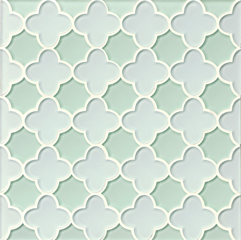 Mallorca Glossy Glass Flora Mosaic Tile in White Linen and Green