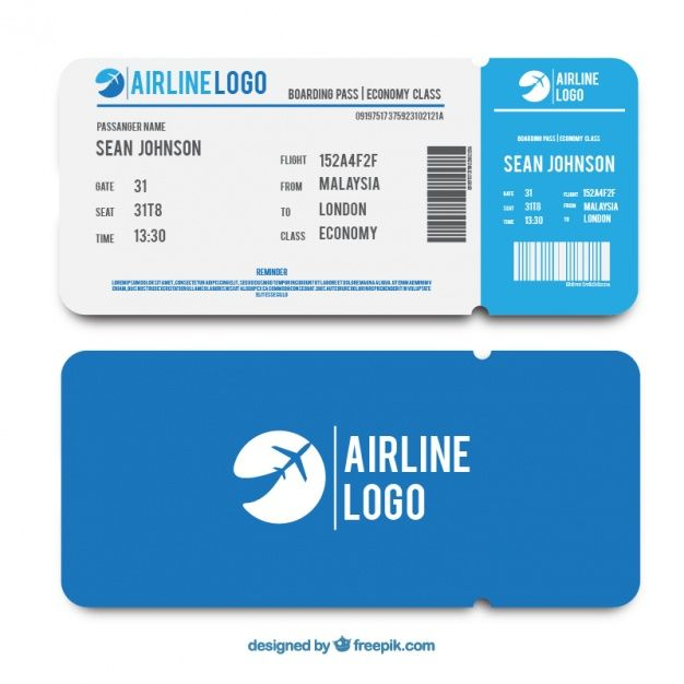 Flat Template Of Blue Boarding Pass Free Vector Boarding