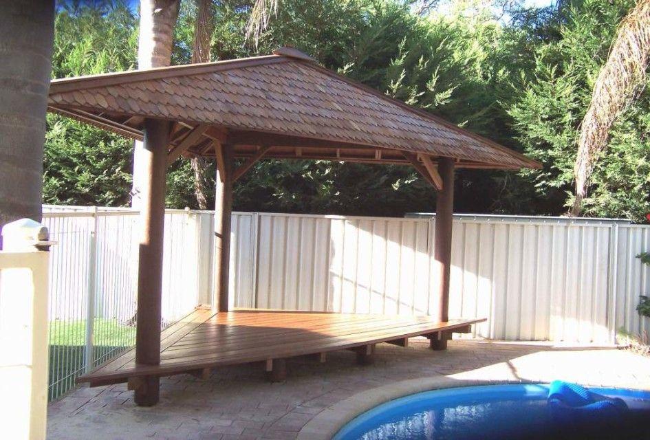 Gazebo Corner Design Triangle Shape Made From Wood Brow Color Pergola Patio Gazebo Pergola Patio