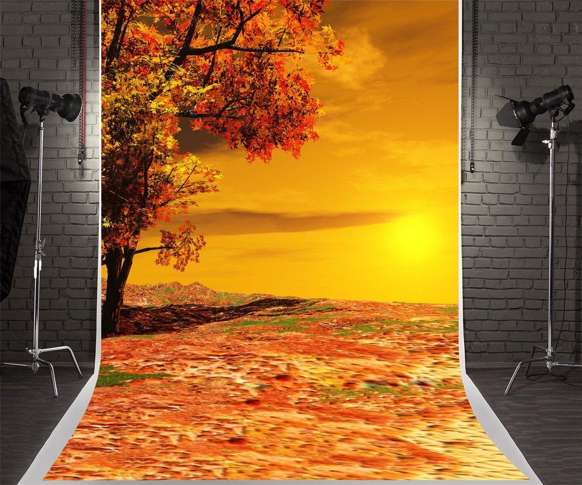 SZZWY Autumn Backdrop 8x10ft Background for Photography Bokeh Fallen Maple Leaves Autumn Theme Party Decor Natural Scenery Interior Decor Adults Kids Portraits Wallpaper
