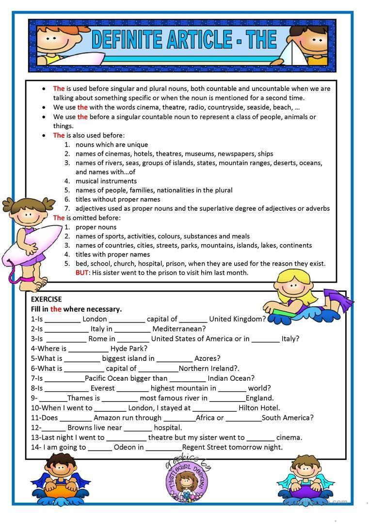 Definite Article Worksheet Free Esl Printable Worksheets Made By Teachers English Grammar Worksheets Grammar Exercises Teaching English Grammar [ 1079 x 763 Pixel ]