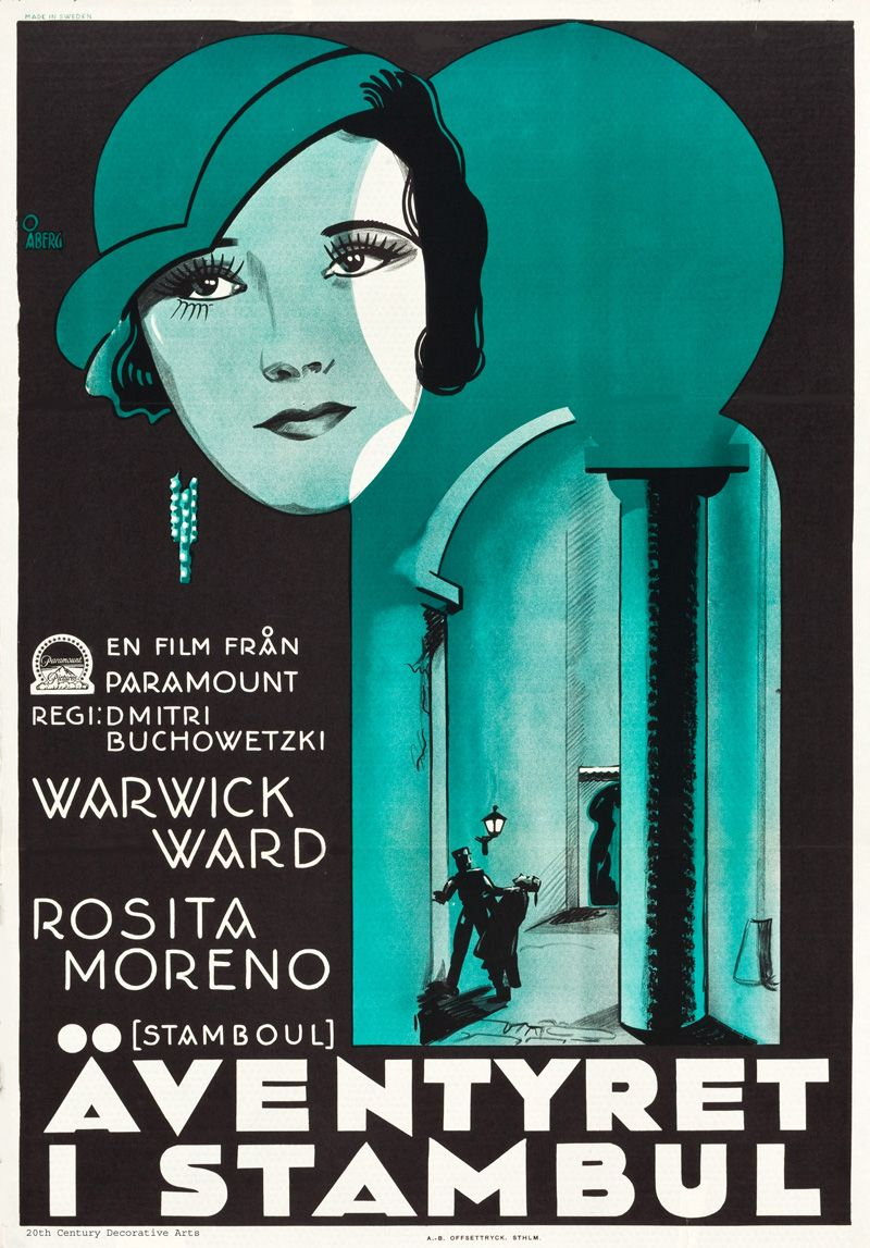 "A 1931 Swedish poster by Gösta Åberg for the Paramount British Pictures production ""Stamboul""."