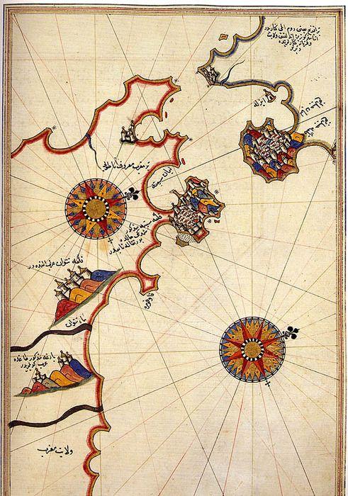 Map of the Strait of Gilbraltar by Piri Reis [1521] | I\'ll sort ...