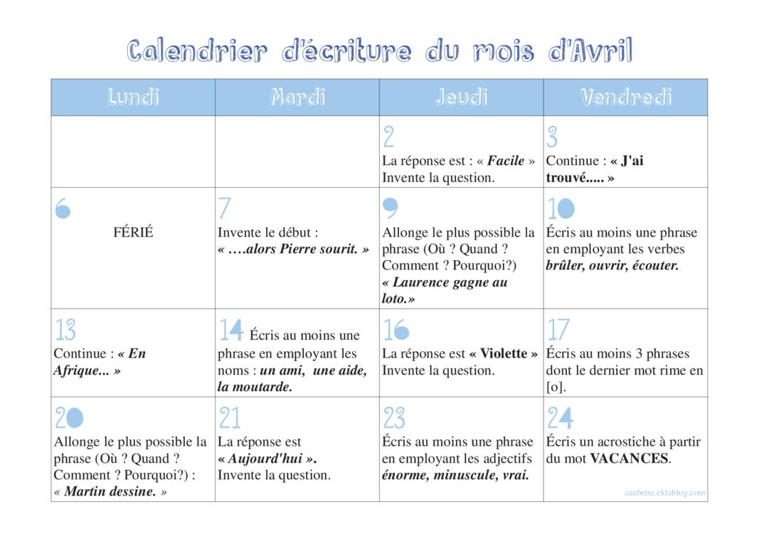 Calendrier Ecriture Ce1.Calendrier D Ecriture D Avril Production D Ecrits Cycle 2