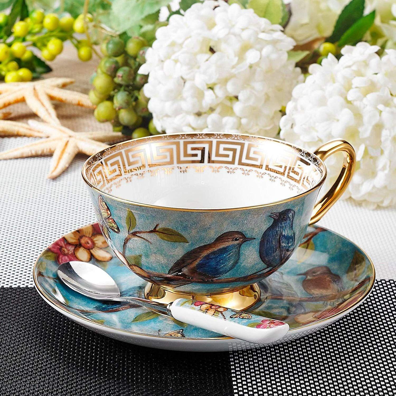 Panbado Bone China 3 Pieces Cup & Saucer & Spoon,Tea Cup